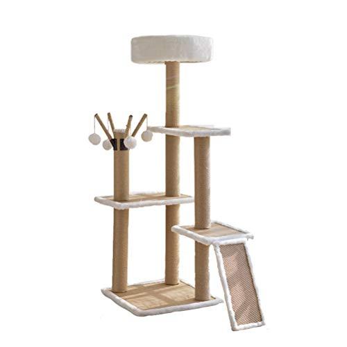 HOMED Escalada del Gato Juguetes Torre, árbol del Gato con Cubiertos-sisal arañar Puestos, con Pelota de Juguete, Naturales de sisal arañar Puestos, Rascador Torre de los Gatos