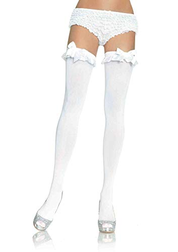Leg Avenue Women's Satin Ruffle Trim and Bow Thigh Highs, White, One Size