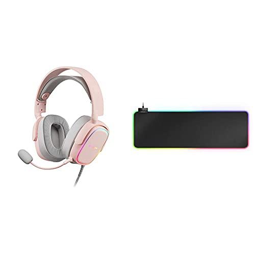MARSGAMING Mhaxp Rosa Auriculares RGB Multiplataforma con Mic Extraíble, 53 Mm HiFi + Mmprgb2 XXL, Alfombrilla Ratón 800X300X4 Mm, RGB 12 Modos, 2 USB 2.0