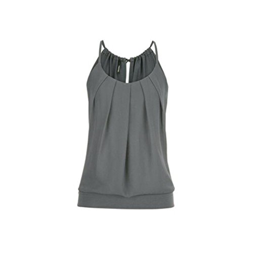 OverDose Damen Casual Sommer Strappy Lose Geknitterte O Neck Cami Tank Tops Weste Bluse Tees Frauen Hemd Freizeit Oberteile T Shirt(Grau,EU-36/CN-M)