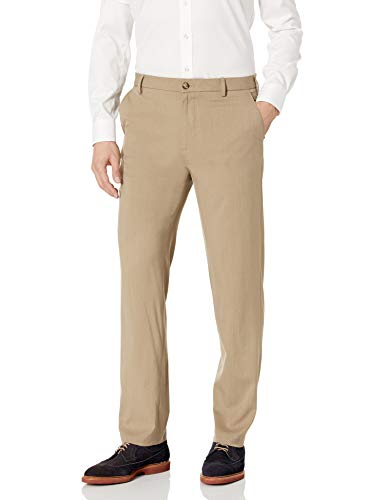 Van Heusen Men's Air Straight Fit Flat Front Dress Pant, Khaki, 38W x 32L