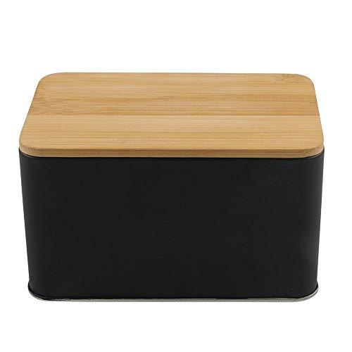 Keksdose Gebäckdose Vorratsdose, hochwertiges Blech/Bambus, ca. 14.5 x 9 x 8.5 cm, schwarz