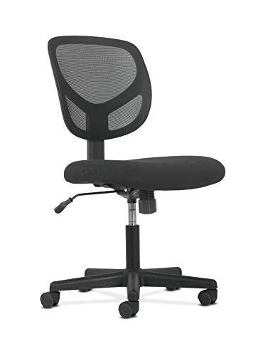 HON BSXVST101 Sadie Swivel Mid Back Mesh Task Without Arms-Ergonomic Computer/Office Chair (HVST101), Black