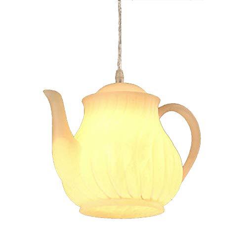 Wj Tetera Tetera Luces Colgantes Taza de té Lámparas Colgantes Araña de Vidrio Altura Ajustable E27 Loft Restaurante Comedor Bar Cafetería Decoración Accesorio de iluminación,10.2 * 7.4in
