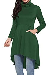 Women's Fall High-Low Dress Top Knit Hi-Low Shirt Stylish Solid Tunic, Pockets Turtle Neck