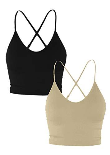 Women Longline Sports Bras - Padded Workout Yoga Gym Fitness Cami Crop Tops Black_Khaki Small to Medium