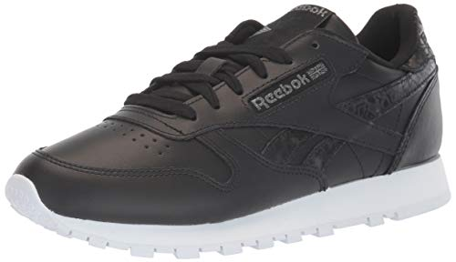 Reebok レディース クラシック レザー スニーカー, ブラック/ブラック/ホワイト, 5