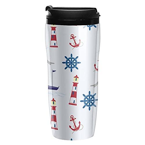 Botella de agua de viaje náutico tazas de café tazas con tapa