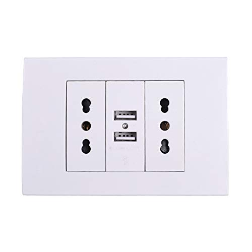 SILENTLY Wandnetzdosen-Stecker, Doppel Italienisch/Chile Steckdose mit 1000mA Doppel-USB-Ladegerät-Anschluss für Mobil 118mm * 80mm