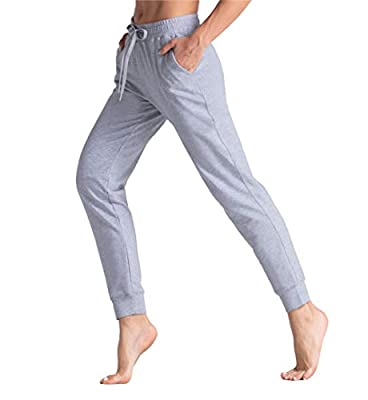 THE GYM PEOPLE Women's Tapered Lounge Sweatpants Loose fit Workout Joggers Pants with Pockets for Yoga, Running, Training (Grey, Small)