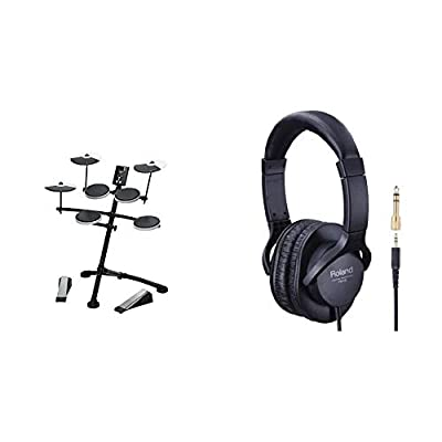 Roland TD-1K Entry Level V-Drums Kit with Rubber Snare Pad, V-Drums For practise, Learning & Fun & RH-5 HeadphOnes - Monitor HeadphOnes