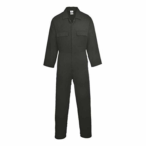 Portwest Euro Work Cotton Coverall - Black - Large Tall - S998 - Large EU / Large UK - Large EU / Large UK