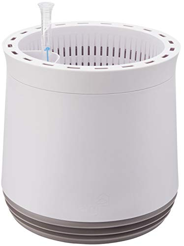 AIRY Pot M (antikweiss/grau) • Natürlicher Luftreiniger filtert Schadstoffe, Allergene & Gerüche aus der Raumluft • Inkl. 6 L AIRY Base Substrat, Wasserstandsanzeiger & Wassertank (1,6 L)