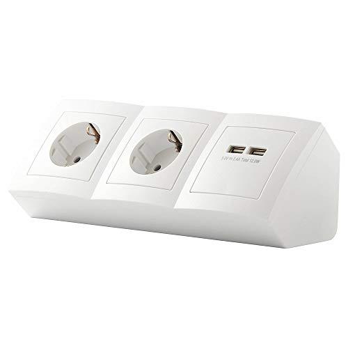 Steckdose 2-fach + 2x USB für Küche und Büro – Ecksteckdose in weiß aus hochwertigem Kunststoff ideal für Arbeitsplatte, Tischsteckdose oder Unterbausteckdose mit 2 Steckdosenelement Küchensteckdose