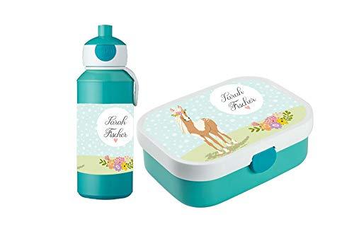 wolga-kreativ Brotdose Obsteinsatz Bento Box und Trinkflasche auslaufsicher BPA frei für Kinder Rosti Mepal für Mädchen Pferd Pony personalisiert mit Namen Lunchbox Brotbox mit Fächern