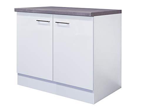 Smart Möbel Spülenunterschrank 100 cm mit Arbeitsplatte/ohne Spüle Weiß - Nawa