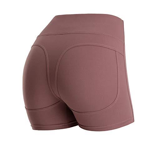 No-Branded WZGGZWGG Frauen Zurück Querverband Shorts Push Up Hip elastische Strumpfhosen mit hoher Taille, Bauch Jogging Yoga Shorts (Color : A Purple, Size : S)