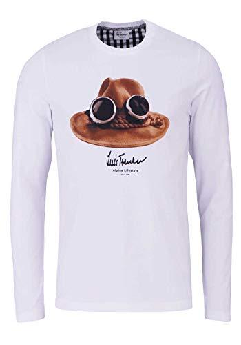 Luis Trenker T-Shirt Langarm DER Hut Rundhals mit Druck weiß Größe XXXL
