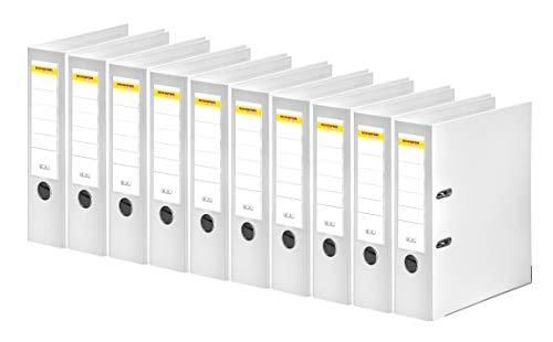 SCHÄFER SHOP Ordner A4 breit – Ringbuch Aktenordner Büroordner Kunststoffordner - Made in Germany - weiß, 80 mm, 10er Pack