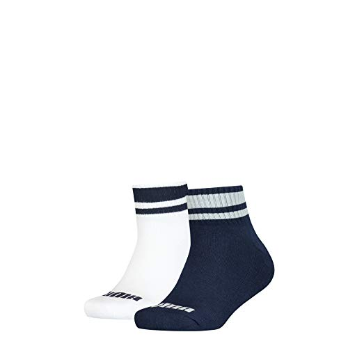 PUMA Junior Clyde Quarter Socks (2 Pack) Calzini, Blue/White, 31-34 (Pacco da 2) Unisex-Bambini