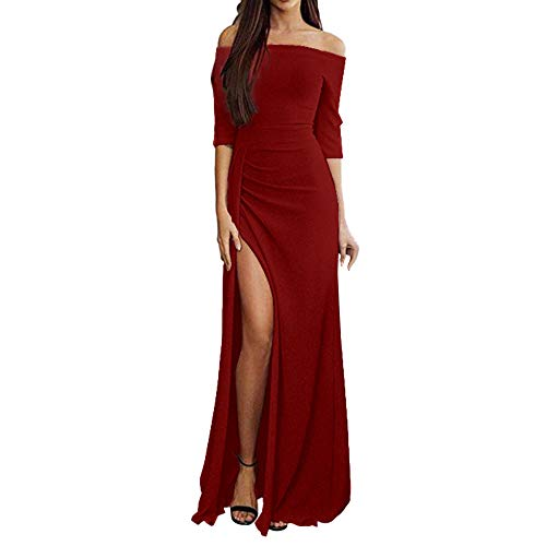 HIKO23 vrouwen uit de schouder met lange mouwen Glitter Party Midi jurk Ruched High Slit formele jurk