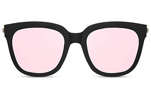 Cheapass Gafas de Sol Mujer Gafas Montura Negra Mate Oversize con Cristales Rosas Espejados Protección UV400
