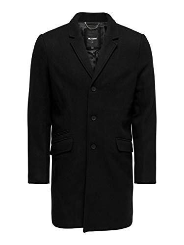 ONLY & SONS Herren Onsjulian Solid Wool Coat Otw Noos Wollmantel, Schwarz, M EU