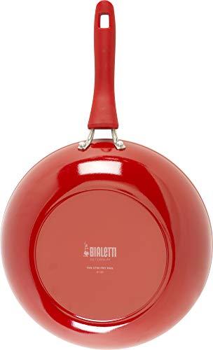 Bialetti Aeternum Nonstick White Ceramic Cookware, 11in Stir Fry, Red & White