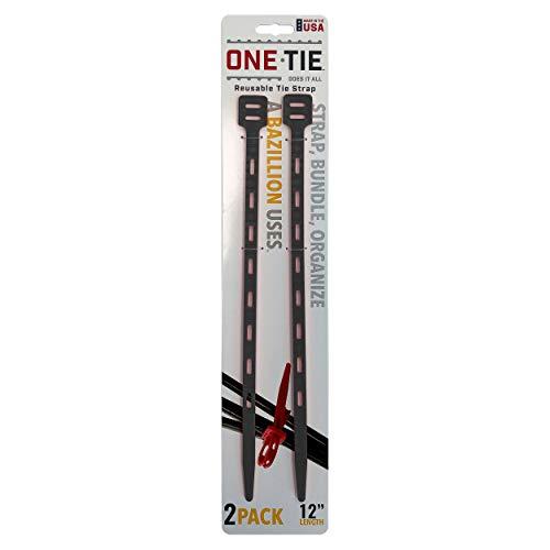 ワンタイ(One Tie) アウトドア 多機能 ストラップ ワンタイ 12インチ(30cm) 【2本セット】 ブラック