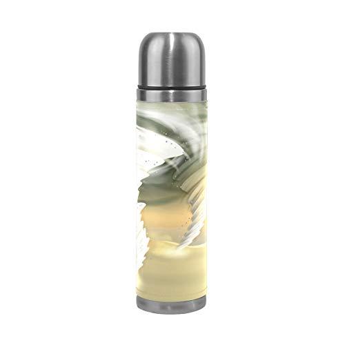 MUMIMI Tornado - Borraccia Termica in Acciaio Inox con Stampa a vortici, da 500 ml, per Sport, caffè, Viaggi, in Vera Pelle, Senza BPA
