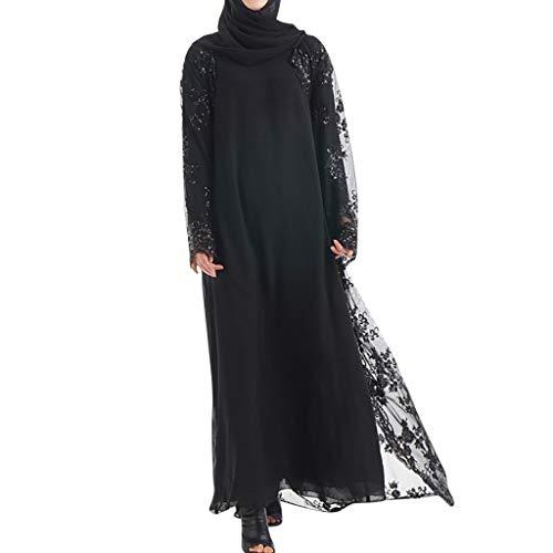 Lucky Mall Frauen Stickerei und Pailletten Islamisch Kittel, Damen Muslim Kleidung Sommer Lange...
