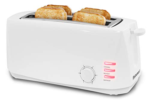 "Elite Gourmet ECT-4829 Maxi-Matic 4 Slice Long Toaster 6 Toast Settings, Defrost, Reheat, Cancel Functions, Extra Wide 1.5"" Slots for Bagels Waffles, Slide Out Crumb Tray, White"