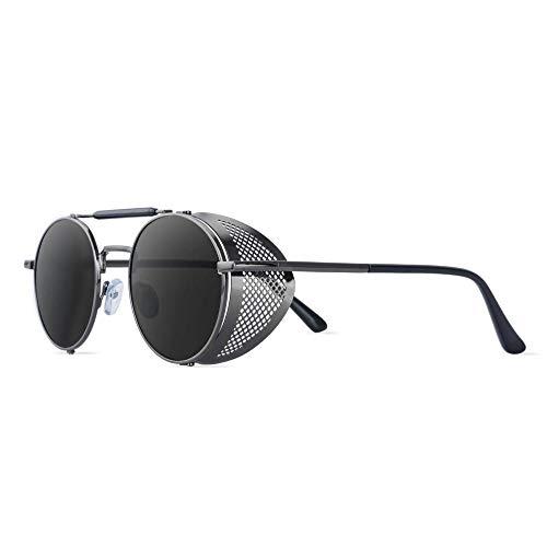 hqpaper Gafas de sol de parabrisas personalizadas retro sapo espejo gafas de sol redondas gafas masculinas ins mujer-marco de pistola película gris completa