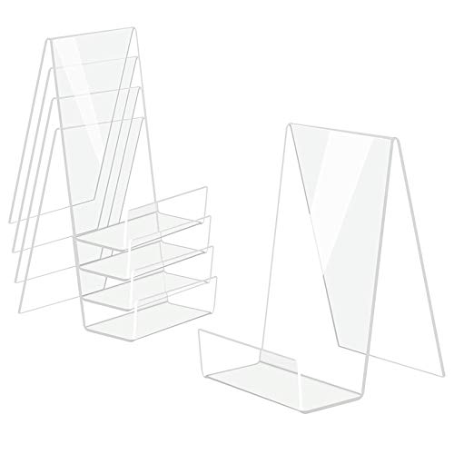 Boloyo Acrylic Book Stand with Ledge 5PCClear Acrylic Display Easel Clear Tablet Holder for Displaying PicturesBooksMusic SheetsNotebooks Artworks CDs etcLarge