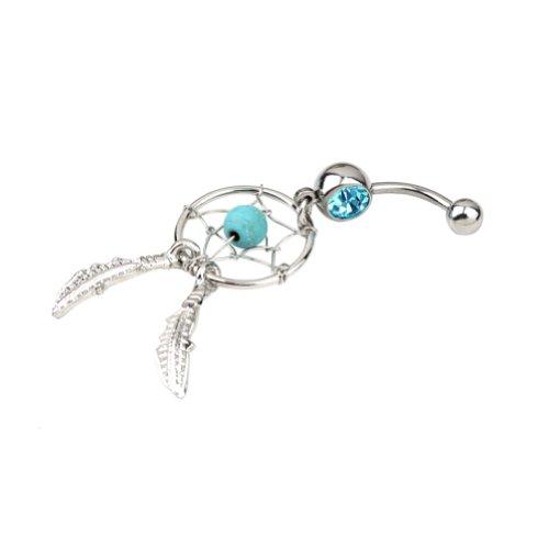 Bingo-UK cristales pendientes largos con forma de Atrapasueños Bar el ombligo del vientre pesas cuerpo Art botón anillo (azul)