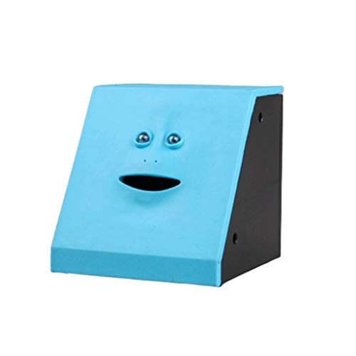 xiaoli Sparschwein Gesicht Geld Essen Box Nette Facebank Sparschwein Münzen-Geld-Münze Sparkasse for Kinder Spielen Geschenk-Dekoration Spardose Geschenk (Color : Blue)