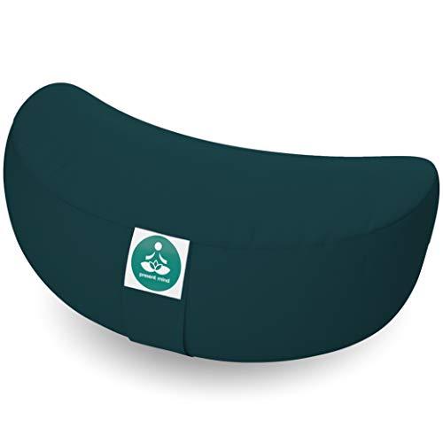 Present Mind Meditationskissen Halbmond - Sitzhöhe 15 cm - Yogakissen - Zafu Halbmondkissen - Hergestellt in der EU