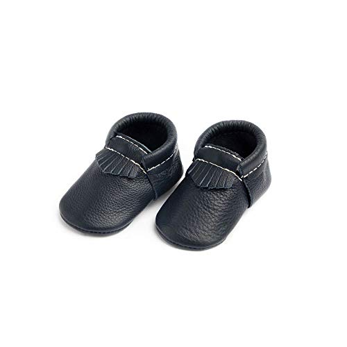 Freshly Picked - Soft Sole Leather City Moccasins - Baby Girl Boy Shoes - Size 1 Navy Blue