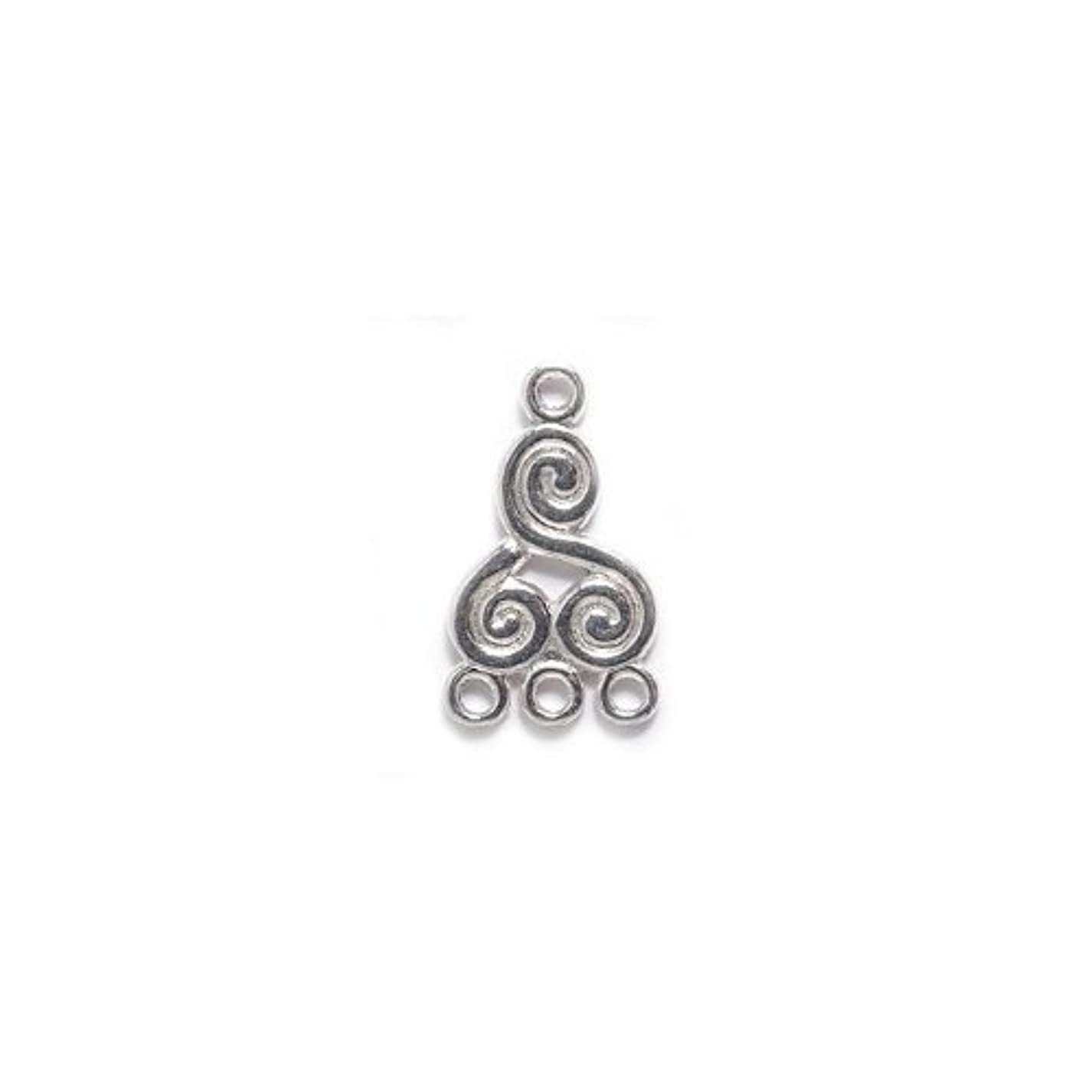 Shipwreck Beads Electroplated Brass Earring Swirl Drop 3 Loop, 12 by 21mm, Metallic, Silver, 2-Pairs aum931218970356