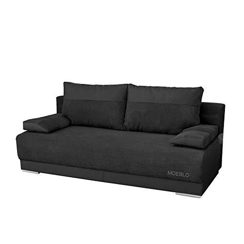 mb-moebel Couch mit Schlaffunktion und Bettkasten Sofa Schlafsofa Wohnzimmercouch Bettsofa Ausziehbar Nisa (Schwarz)