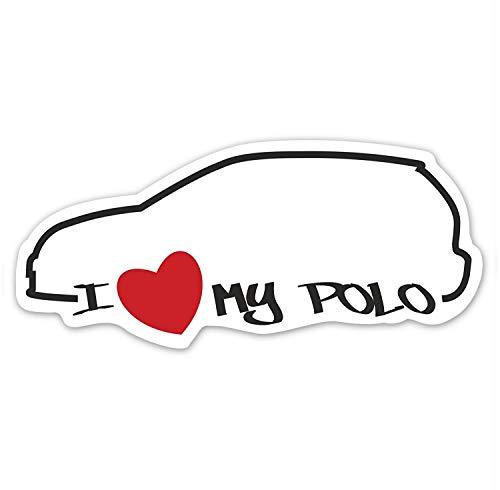 easydruck24de 1 Auto-Aufkleber I Love My Polo I kfz_095 I Größe 10 x 4,5 cm I Sticker wetterfest weiß schwarz rot I Ich Liebe Mein Auto