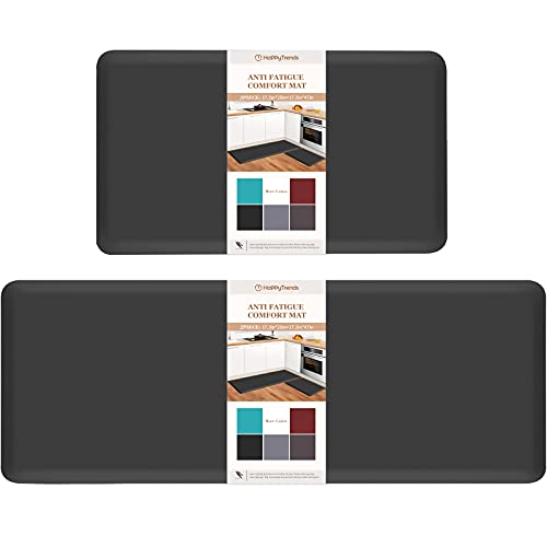 HappyTrends Kitchen Mat [2PCS] Cushioned Comfort Anti-Fatigue Floor Mat, Waterproof Non-Slip Kitchen Rugs, Thick Perfect Ergonomic Foam Standing mat for Kitchen, Home, Office, Laundry,Black