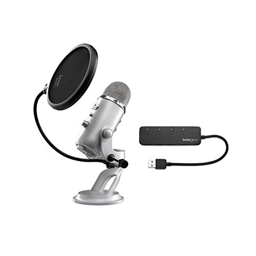 Blue Yeti USB Microphone (Silver) bundle