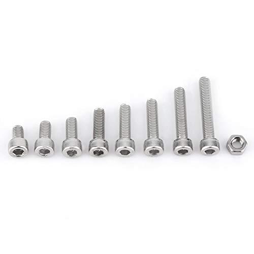 metales 160 piezas Kit tuercas hexagonales de acero inoxidable tornillos de cabeza hexagonal (A:  cabeza de la tapa) Accesorios de repuesto