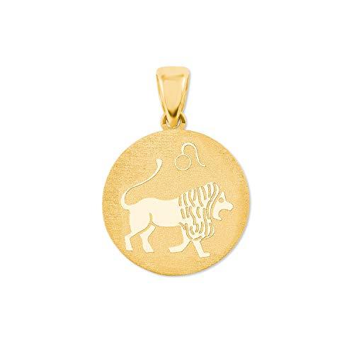 amor Anhänger Unisex Sternzeichen Löwe rund 375 Gold teilmattiert
