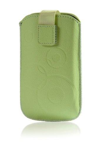 Handytasche Circle für HTC One M8 Handy Etui Schutz Hülle Cover Slim Case creme-grün mit Klettverschluss