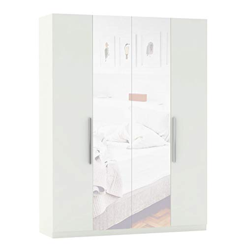 Mirjan24 Kleiderschrank Olsted 4D mit Spiegel, Drehtürenschrank, 4-türig Schrank, Konfigurierbare Innenausstattung, Dielenschrank Garderobenschrank (Weiß/Weiß + Spiegel, Griffe: Chrom, Innen: A4)