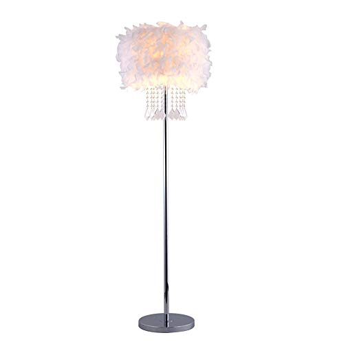 QEGY LED Lámpara de Pie Estilo NóRdico Pluma Lámpara de Suelo con Colgante de Cristal Sala de Estar Lámpara Vertical para Interior Oficina Decoración, Dorado