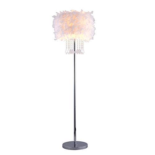 QEGY Stehlampe Feder Kreative Moderne, LED Stehleuchte schlafzimmer mit Warmlicht 3000K, E27 Standlampen Schmiedeeisen für Lesezimmer Kinderzimmer Mädchenraum, Fußschalter