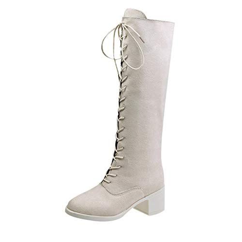 Supertong Damen Schnürstiefel Elegant Einfarbig Wildleder High Heels Stiefel mit Blockabsatz...
